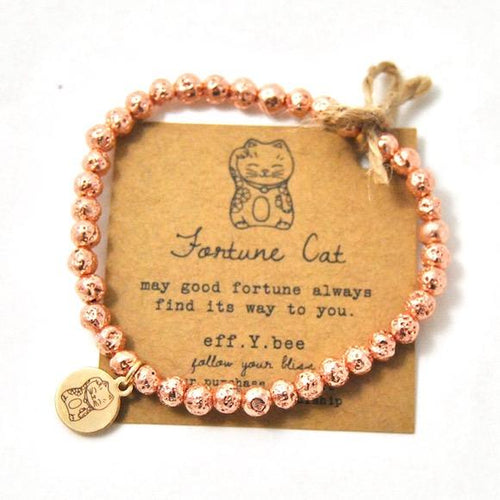 Mini Fortune Cat Rose gold Lava stone Bliss Bracelet
