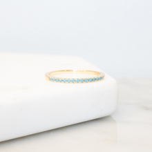 Load image into Gallery viewer, 14k Gold Turquoise Slim Stacking Ring