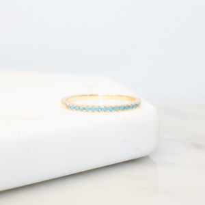 14k Gold Turquoise Slim Stacking Ring