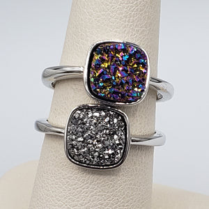 TJazelle Adjustable Silver Druzy Ring
