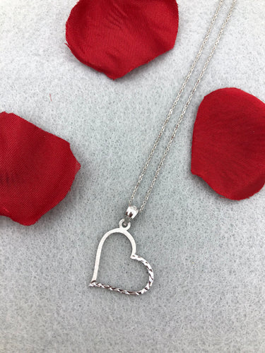 14k White Gold Open Heart Necklace