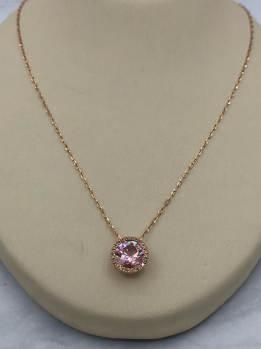 14K Rose Gold Morganite Necklace