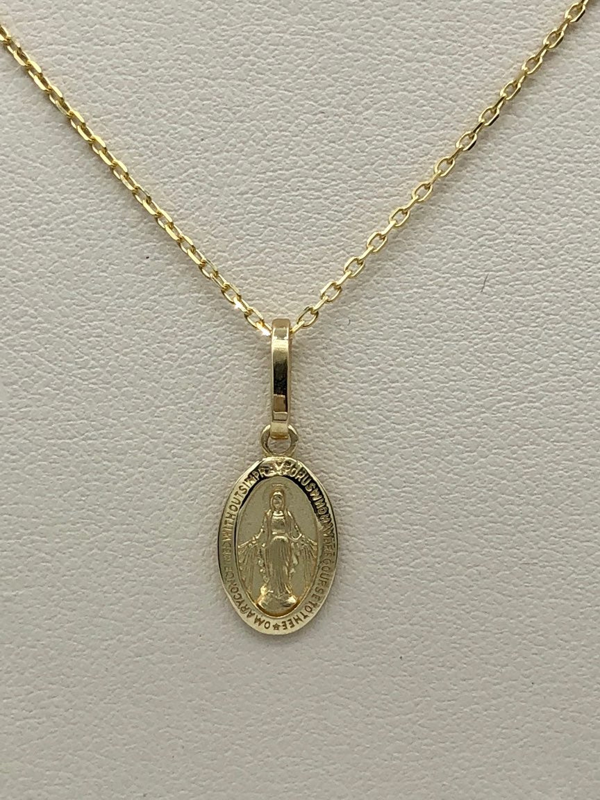 14K Yellow Gold Miraculous Medal with 14K Yellow Gold Chain