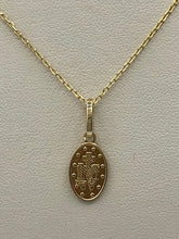 Load image into Gallery viewer, 14K Yellow Gold Miraculous Medal with 14K Yellow Gold Chain