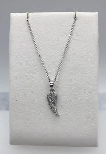 14K White Gold Diamond Angel Wing Necklace