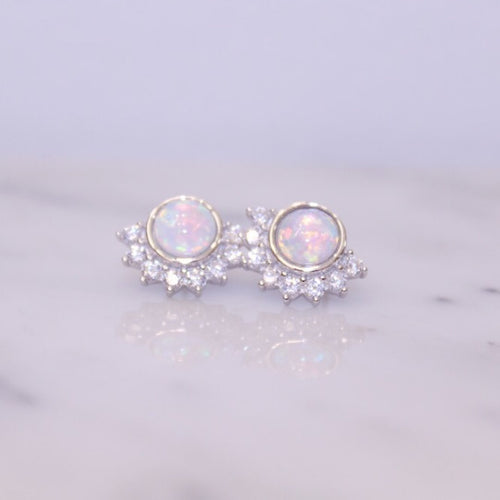 Opal and Cubic Zirconia Lois Stud Earrings