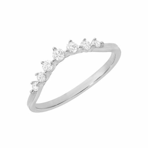 14K White Gold Seven Stone Curve Band