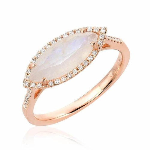 Marquise Rainbow Moonstone Ring