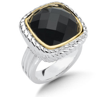 Colore SG Sterling Silver & 18K Onyx Ring