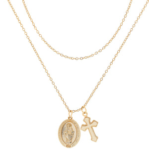 Mini Crucifix Layered Necklace : Gold