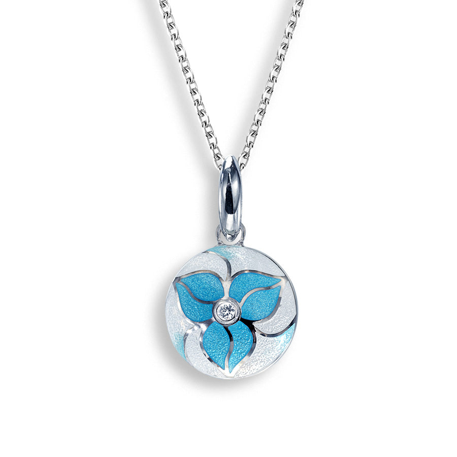 Sterling Silver Blue Flower Necklace