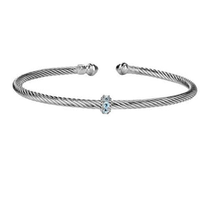 Philip Gavriel Silver Italian Cable Stackable Bangle with Blue Topaz