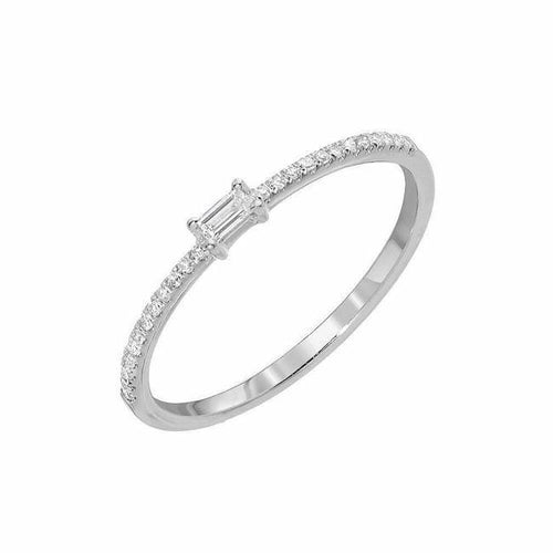 Petite Baguette Center Halfway Diamond Band, Size 6