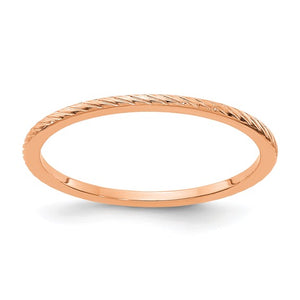 14k Rose Gold Thumb Ring (Twisted Wire Pattern Stackable Band)