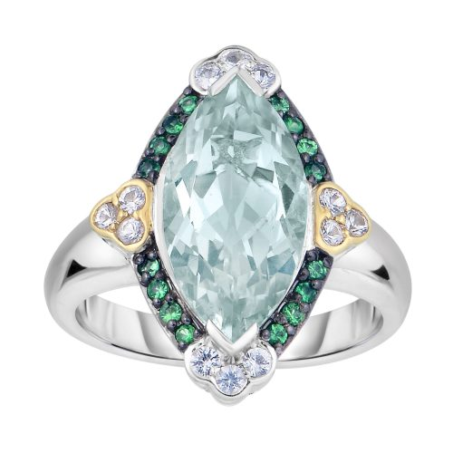 Silver and 18kt Gold Marquis Ring with Green Amethyst by Philip Gavriel