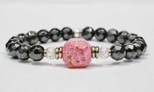 Stash The Raquel - Swarovski crystal, pink Dragon's Vein and Hematite