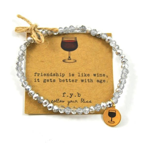 Wine Silver Crystal Bliss Bracelet