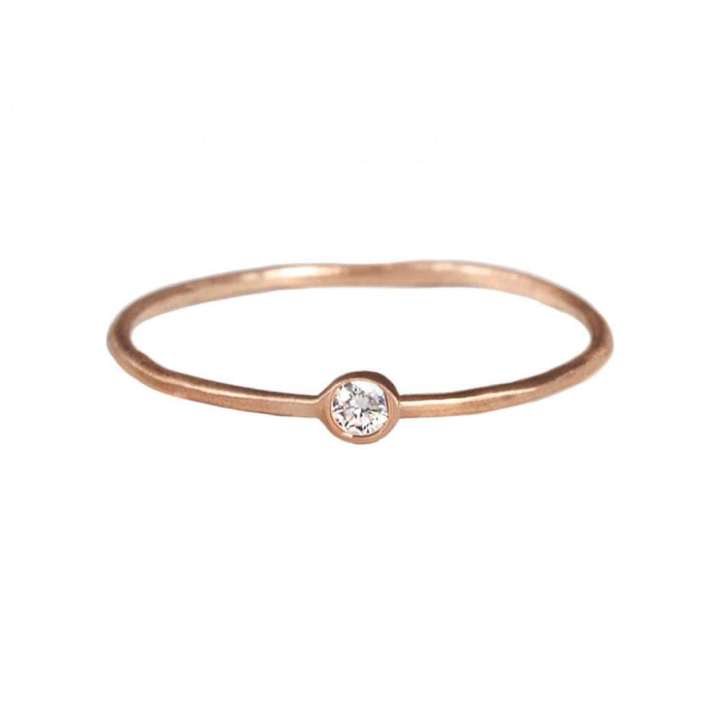 Tiny Diamond Ring - White Gold Size 5.75