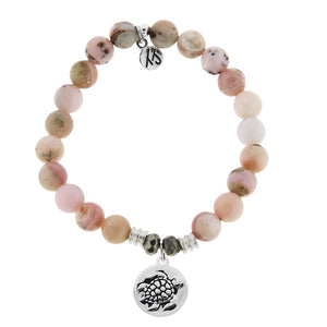 TJazelle Pink Opal Stone Bracelet with Turtle Sterling Silver Charm