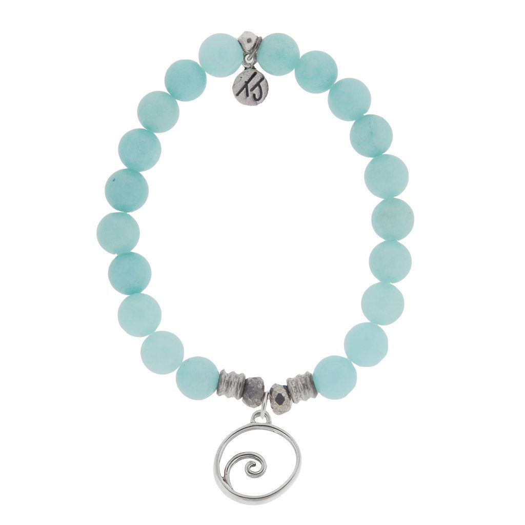TJ Apatite Stone Bracelet with Wave Sterling Silver Charm