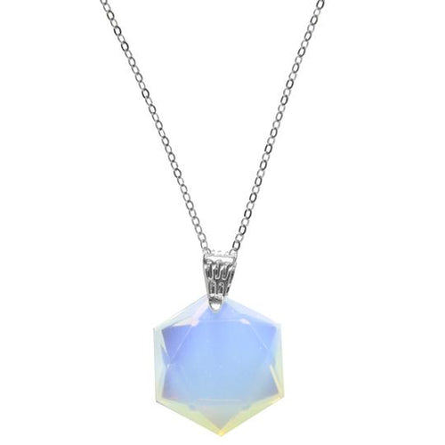 TJazelle Cleo Crystal Necklace - White Opal Hexagon