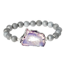 Load image into Gallery viewer, Geode Stack Bracelet: gray/plum/silver