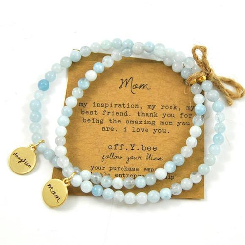 Mini Aquamarine Mom & Daughter Bliss Bracelet Set