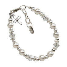 Load image into Gallery viewer, Sterling Silver Pearl/Crystal Baptism Bracelet