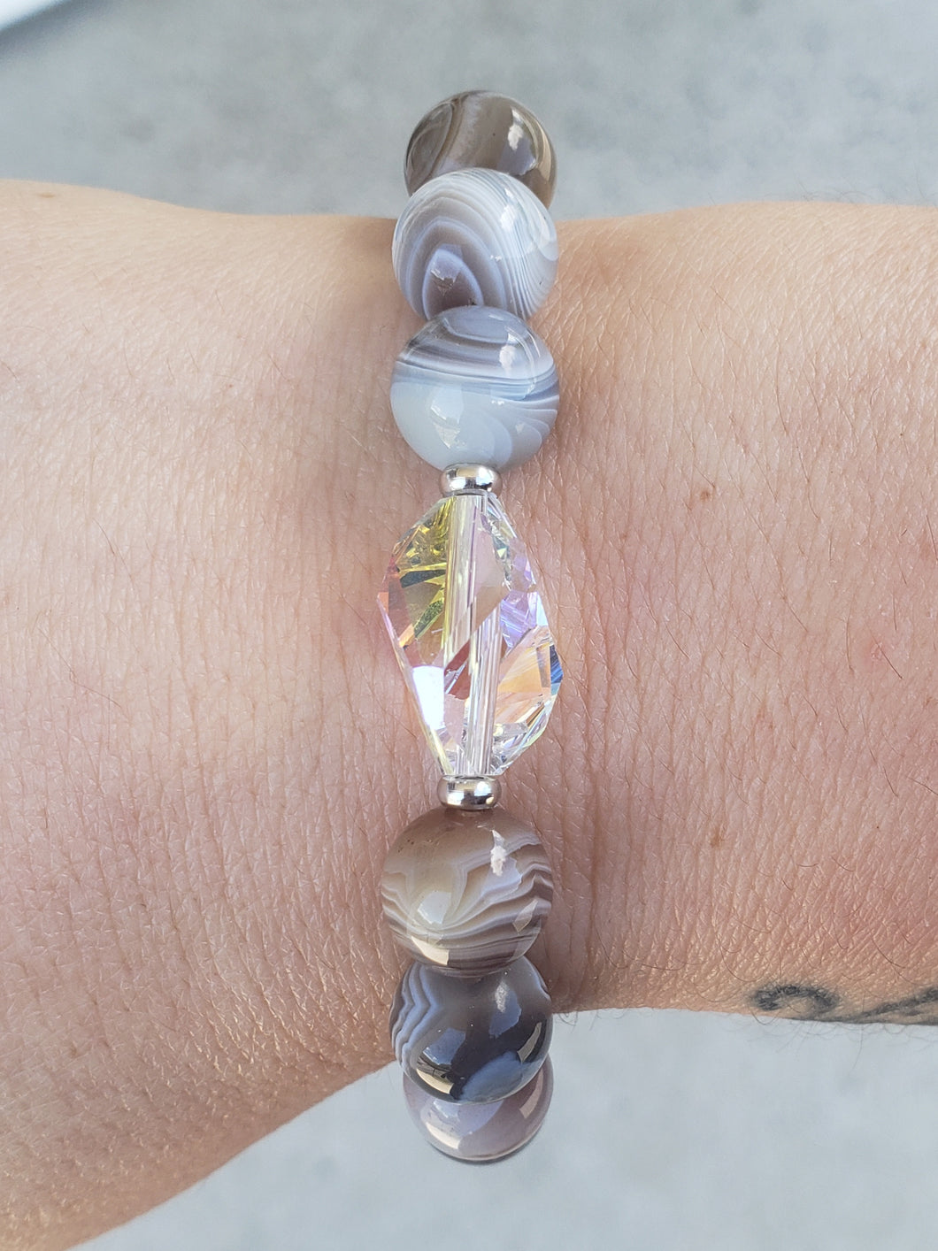 Stash Botswana Agate Bethaney Bracelet with Swarovski Crystal