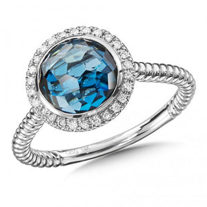 London Blue Topaz & Diamond Ring in 14K White Gold