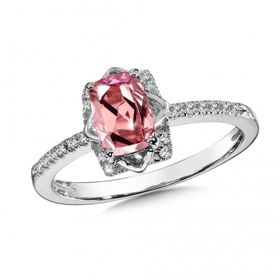 Pink Tourmaline and Diamond Ring in 14K White Gold