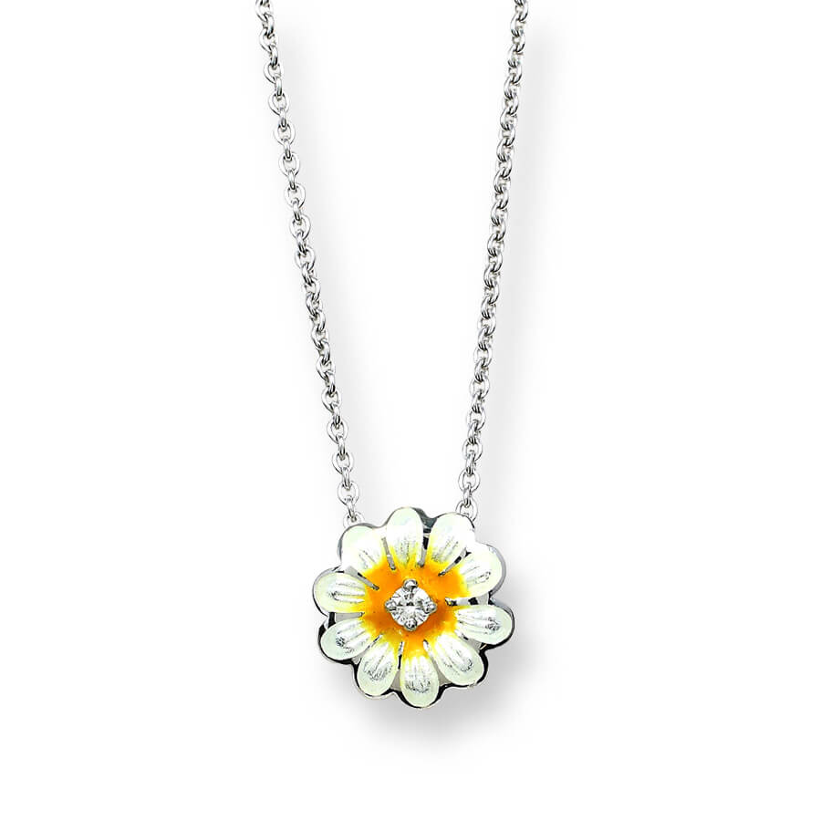 Sterling Silver White Daisy Necklace