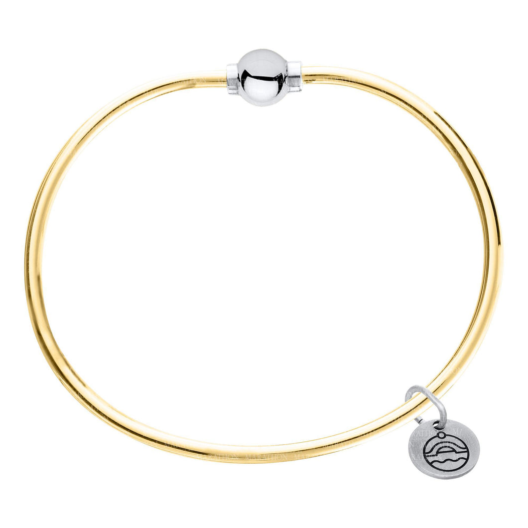Gold Filled with Sterling Silver Single Ball Cape Cod Bangle