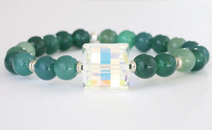 Stash The Sophie with Swarovski Crystal and Green Agate