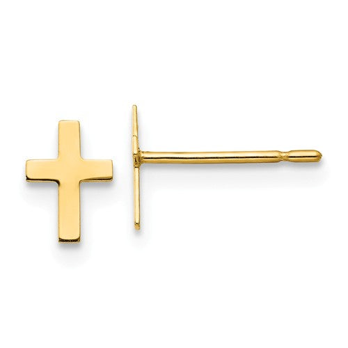 14k Children's Cross Post Earrings