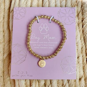 Gold Lavastone Dog Mom Bracelet