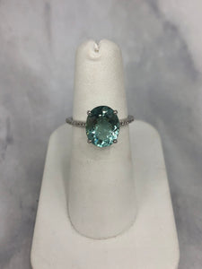 Custom 14K White Gold Green Tourmaline and Diamond Ring