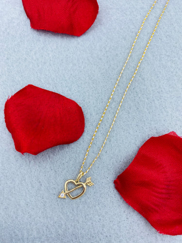 14k yellow gold heart and arrow necklace