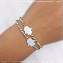 Load image into Gallery viewer, Hamsa White Opal Bracelet