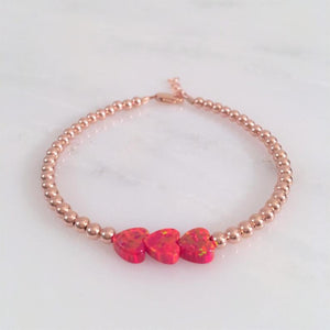 Red Opal Triple Heart Rose Gold