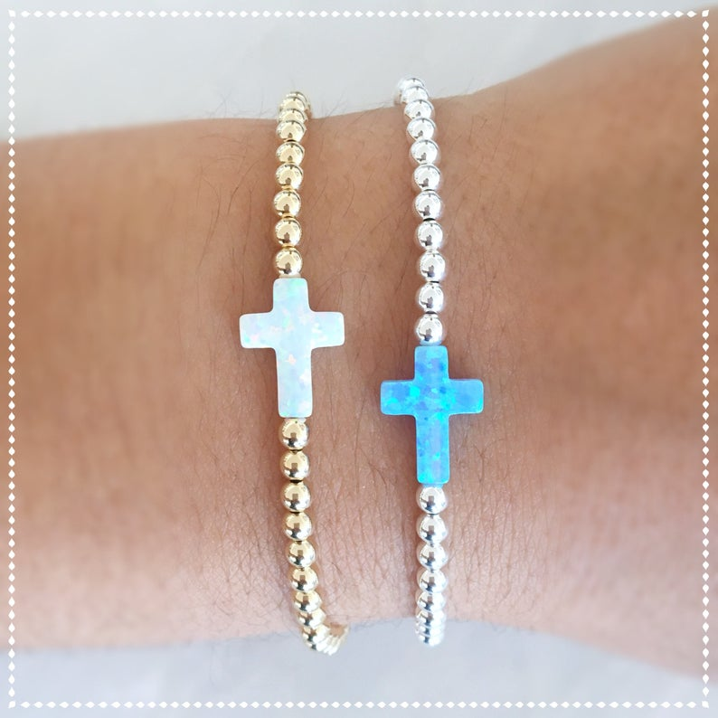 Opal Cross Beaded Bracelet