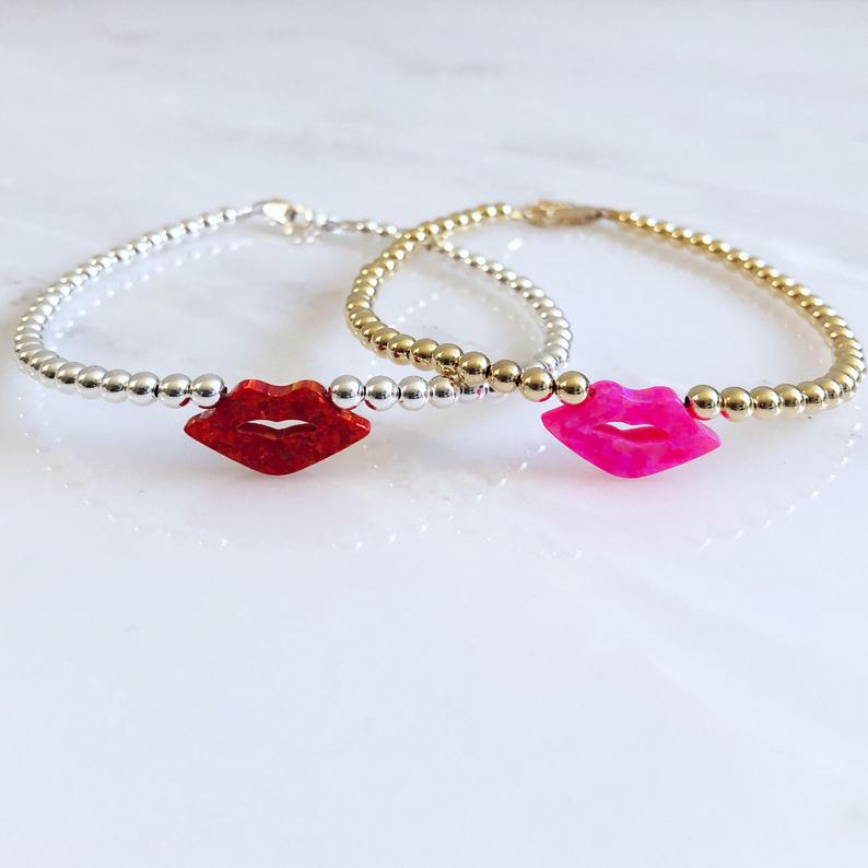 Lips Hot Pink Opal Beaded Bracelet