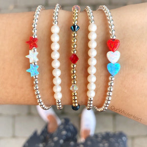 Fourth of July Beaded Bracelets - Triple Mini Heart