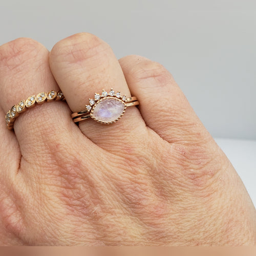 Two-Ring Set With Bezel Set Rainbow Moonstone