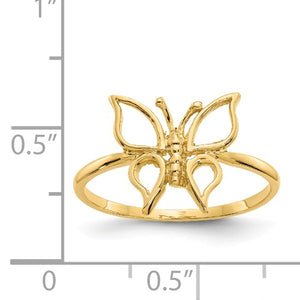 14k Polished Butterfly Ring, Size 7