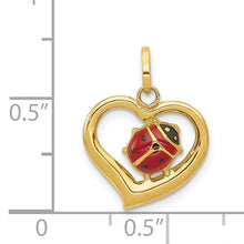 Load image into Gallery viewer, 14k Enameled Ladybug in Heart Charm
