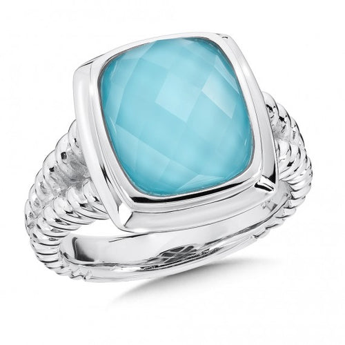 Colore SG Turquoise and White Quartz Fusion Ring