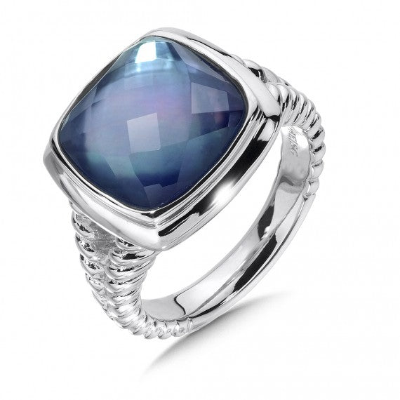 Colore SGSterling Silver Quartz & Dyed Blue Mother of Pearl Fusion Ring