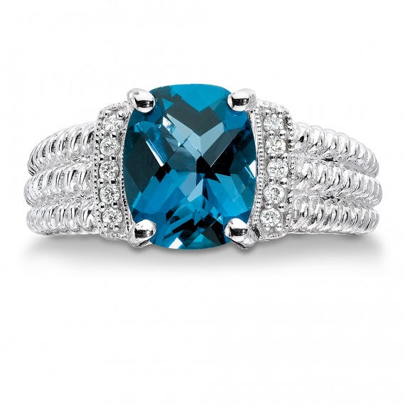 Colore SG Sterling Silver Diamond and London Blue Topaz Ring