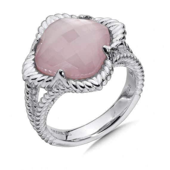 Colore SG Sterling Silver White Quartz & Dyed Rose Mother Of Pearl Fusion Split Shank Ring